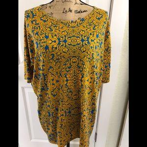 LULAROE Irma Goldenrod Blue Scroll Print Tunic Top